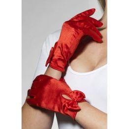 Перчатки Леди атласные (красные) (Fever) (One Size)