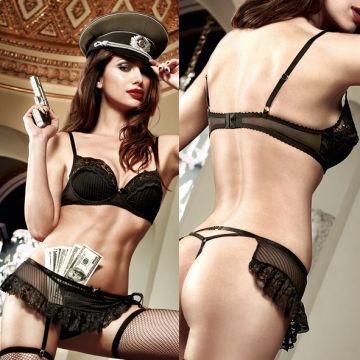 Agent Of Love Бюстгальтер черный с косточками и кружевными элементами; ML