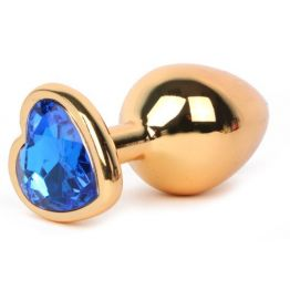 ВТУЛКА АНАЛЬНАЯ ЗОЛОТАЯ, цвет кристалла синий, L 95 мм D 41 мм, вес 160 г, арт. LCHG-13