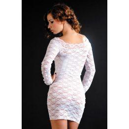 Платье с рукавами и стринги белые-S/L