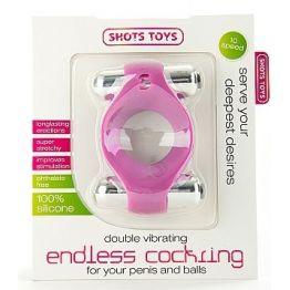 Эрекционное виброкольцо Double Vibrating Endless Cockring розовое