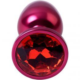 Анальный страз, TOYFA Metal, красный, с кристаллом цвета рубин, 7,2 см, Ø2,8 см, 50 г