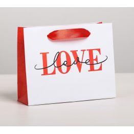 Пакет подарочный ламинированный горизонтальный LOVE, MS 23  x 18 × 8 см   4479149