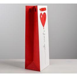 Пакет под бутылку крафтовый I love you, 13 × 36 × 10 см   4479156