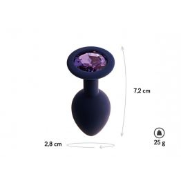 Анальная пробка с кристаллом Gamma, цвет Черничный + фиолетовый кристалл  (CORE) (M)