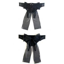 Эротические трусики из стрейч-сетки с бантом черные (46-48)