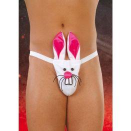 Стринги мужские Кролик белые-S/L