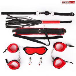 КОМПЛЕКТ (кляп, наручники, оковы, маска, ошейник с поводком, плеть, зажимы для со арт. MLF-90496