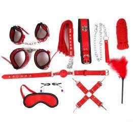 НАБОР (наручники, оковы, щекоталка, ошейник с поводком, кляп, маска, плеть, фиксатор, верёвка, зажим