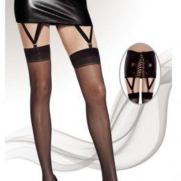 Чулки Moze сетка , пояс в виде юбки со шнуровкой винил и пажами черные, 9820