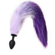 Анальная втулка с бело-фиолетовым хвостом POPO Pleasure by TOYFA, M, силикон, черная, 45 см, Ø 3,3 с