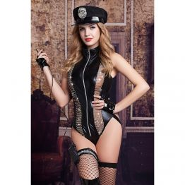 Костюм полицейской Candy Girl Raven (боди, головной убор, митенки, подвязка, чулки, рация) OS 84105
