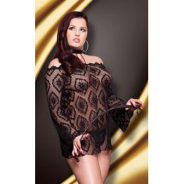 Платье-сетка черное-XXL