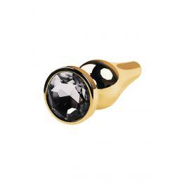 Анальная втулка со стразом, TOYFA Metal, золотистая, с кристаллом цвета алмаз 717052-10