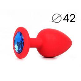 ВТУЛКА АНАЛЬНАЯ, L 95 мм D 42 мм, красная, цвет кристалла синий, силикон, арт. SF-70602-13