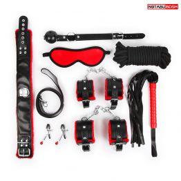 НАБОР (маска, кляп, зажимы, плётка, ошейник, наручники, оковы, верёвка) цвет красный/чёрный арт. NTB