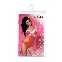 Новогоднее боди Candy Girl Jade, красно-белый, OS