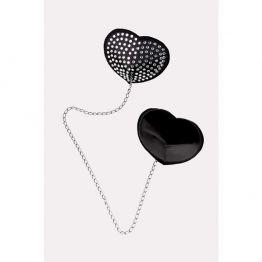 Пэстис Erolanta Lingerie Collection в форме сердец со стразами и цепочкой черно-белые