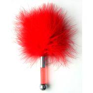 ЩЕКОТАЛКА С ПЕРЬЯМИ цвет красный, 17см, (ABS, перья) арт. MLF-90003-3