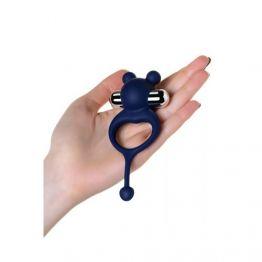 Виброкольцо с хвостиком JOS MICKEY, силикон, синий, 12,5 см