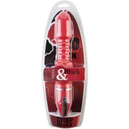 Стимулятор Black & Red by TOYFA, 10 режимов вибрации, водонепроницаемый, силикон, красный,