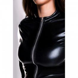 Боди Glossy Alessia из материала Wetlook на молнии, черный, M 955024-M