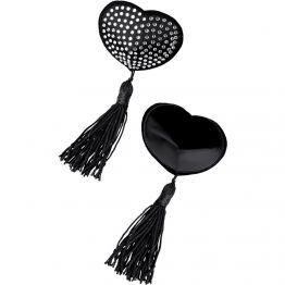 Пэстис Erolanta Lingerie Collection в форме сердец с кисточками черно-белые 790102