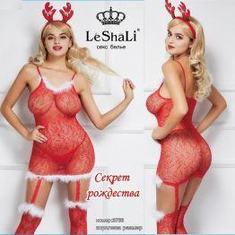 Новогоднее платье с рожками и чулками с пухом DJ_3756