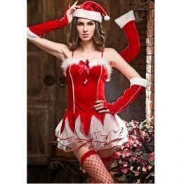 Самое красивое новогоднее платье+колпак+трусики+чулки (4 предмета), 6356