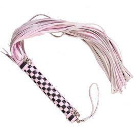 950012-Плетка из нат.кожи розовая 48см 46 хвостов