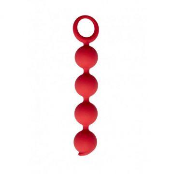 Анальная цепочка Appulse, силикон, 2,5 x 13 см , цвет бордовый (One Size)